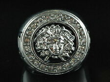 Mens Brass 14k White Gold Finish Medusa Iced Out 1 Head Band Pinky Ring