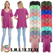 Womens Short Sleeve V Neck Loose Fit Basic Knit Tunic Top - Regular & Plus