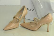 NEW MANOLO BLAHNIK Campari 90 Mary Jane Nude Beige Flesh Patent SHOES 36.5 37.5