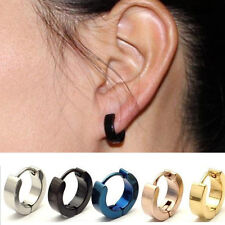 2PCS Punk Mens Women Stainless Steel Hoop Huggies Ear Stud Earrings Gothic