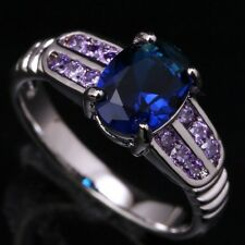 Sapphire Blue Topaz Amethyst Oval Gems Silver Rings US#Size5 6 7 8 9 T0838