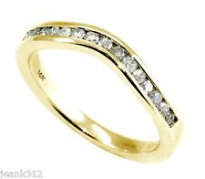 New Diamond Wedding Band Ring 0.30 Carat CURVED 14K Yellow Gold Channel set