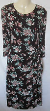 NEW LADIES LAURA ASHLEY DARK CHERRY BLOSSOM FLORAL JERSEY DRESS UK SIZE 8 - 18