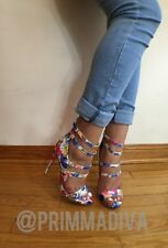 FLORAL STRAPPY HIGH HEELS OPEN TOE ANKLE STRAPS SINGLE SOLE LACE UP CUTOUT NEW