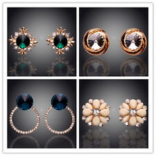 18K Gold Plated Austrian Crystal  Round Jewelry Gold Stud Earrings In 10styles