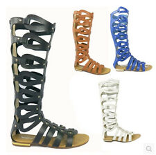US6-9.5 Womens Flat Rivet Gladiator Hollow Out Roman Knee High Sandals Boots Sz