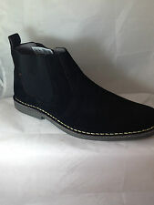 MENS black suede leather ANKLE BOOTS DEALER CHELSEA GUSSET PULL ON