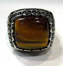 man's 316L solid heavy stainless steel big tiger eye stone ring size 10,11,12,13