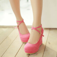 2015 Womens Suede High Platform Wedge Heel Platform Cross Strap Shoes PLus Size