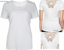 BN M&S PER UNA IVORY/WHITE TEXTURED CROCHET LACE BACK TOP BLOUSE TUNIC SZ 8 ~ 20