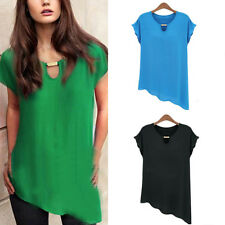 Fashion Womens Ladies Casual Chiffon Loose Short Sleeve Vest T Shirt Tops Blouse