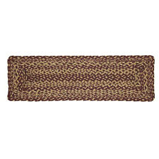 Burgundy Tan Braided Jute Stair Tread Set - Rectangle Stair Treads by VHC Brands