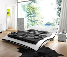 Modern White Faux Leather Platform Bed-Queen,East King,California King Option