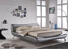 Modern Silver Faux Leather Platform Bed-Queen,East King,California King Option