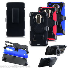 Rugged Hybrid Armor Hard Belt Clip Case Cover Stand For LG G Stylo Stylus LS770