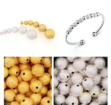 New Silver&Golden Plated Stardust Ball Spacer Beads Jewelry Findings 3-10mm