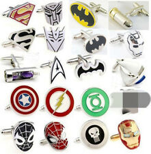 A Pair Wedding Party Groom Shirt Square DC Marvel Super Hero CuffLinks Hot