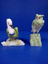 Peruvian hand carved natural stone owl and duck bird figures figurines statues