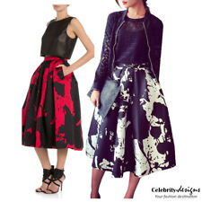 Celebrity High Waisted Printed Skater Fashion Midi Skirt Volume A-line Skirt s93
