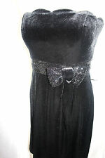JS Boutique black velvet evening prom dress sequin waistband bow UK 8 10 14