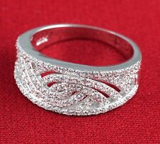 Womens Solid 925 Sterling Silver CZ Micro Pave Setting Wedding Band Ring 9mm