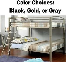 Sturdy Full Over Full Size Metal Bunk Bed Beds Kids Bedroom Gold Black Gray Grey