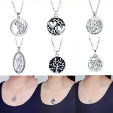 Fashion Women Love Crystal Reversible Letter Pendant Necklace Lover Family Gifts
