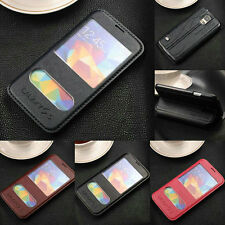 Luxury Double Window Leather Flip Case Stand Cover For Various Samsung Galaxy
