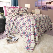 Full/Queen Size Lightweight Quilt Bedspread Colorful Options Peace
