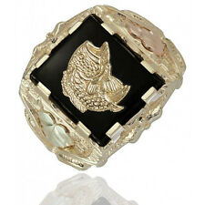 10K Black Hills Gold Mens Fish Ring with Onyx Size 9 to 14