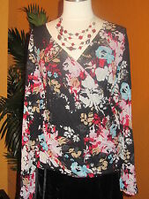 KATE HILL  NWT $74 black multi colored floral flowers women's shirt blouse