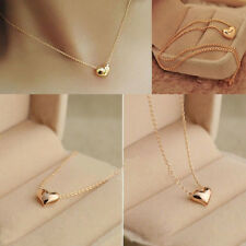 Fashion Womens Gold Plated Heart Bib Statement Chain Pendant Necklace Jewelry