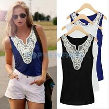 Womens Summer Sexy Lace Sleeveless Shirt Casual Tank Tops Cotton Blouse Vest