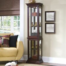 Lighted Curio Cabinet Tall Mirrored Glass Wood Display Trophy Case Shelves