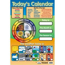 Calendar days of  the  week months seasons weather learning poster wall chart