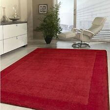 MODERN NATURAL PILE THICK 20MM NZ WOOL RED FLOOR RUG MONEY BACK GUARANTY