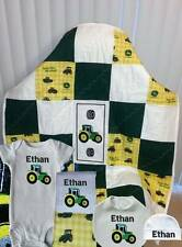 Handmade Personalized John Deere Print Baby Boys Green Quilt Layette Set