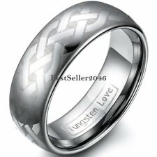 Polish Laser Celtic Knot Brushed Dome Tungsten Carbide Ring Mens Womens Band 8mm