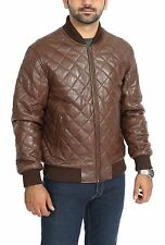 Mens Brown Quilted Padded Classic Bomber Baseball Real Leather Jacket NEW