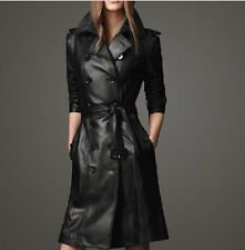 Winter Leather Womens Double-Breasted Slim Fit Long Dust Jacket Coat Outwear New