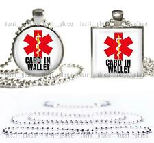 "Medical Alert ""Card In Wallet"" Necklace Glass Top Pendant with 24"" Ball Chain"
