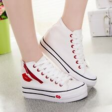 Fashion High Top Canvas Sneakers Womens Platform Lace Up Athletic Sport Shoes Sz