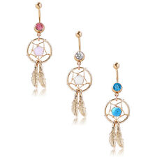 Womens Dangle Button Bar Jewelry Crystal Navel Belly Ring Piercing Dream Catcher