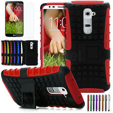 Hard Hybrid Heavy Duty Rugged Case Kickstand Cover For LG G2 + Screen Protector