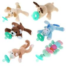 Infant Baby Boy Girl 6 Types Cuddly Plush Animal Nipples Silicone Pacifiers NEW