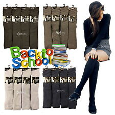 6 or 12 Pairs Girls Cotton Rich Knee High School Socks Shoe Size 9-12 12-3 & 4-6