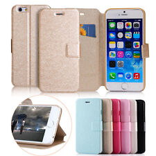 Slim Silk Wallet Flip Case Cover Leather Card Slot For iPhone 4 5 6 6Plus Luxury