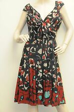 $3490 New Oscar de la Renta Batik Floral SILK Bow R12 DRESS 6