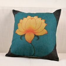 Lake Blue Chinese Flower Print Cotton Linen Sofa cushion case/pillow cover
