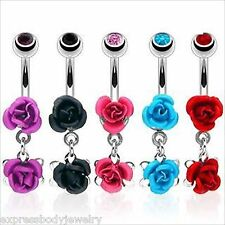 1 PIECE 14g Double Metal Rose Flower Navel Belly Ring With CZ Gem Ball Dangle